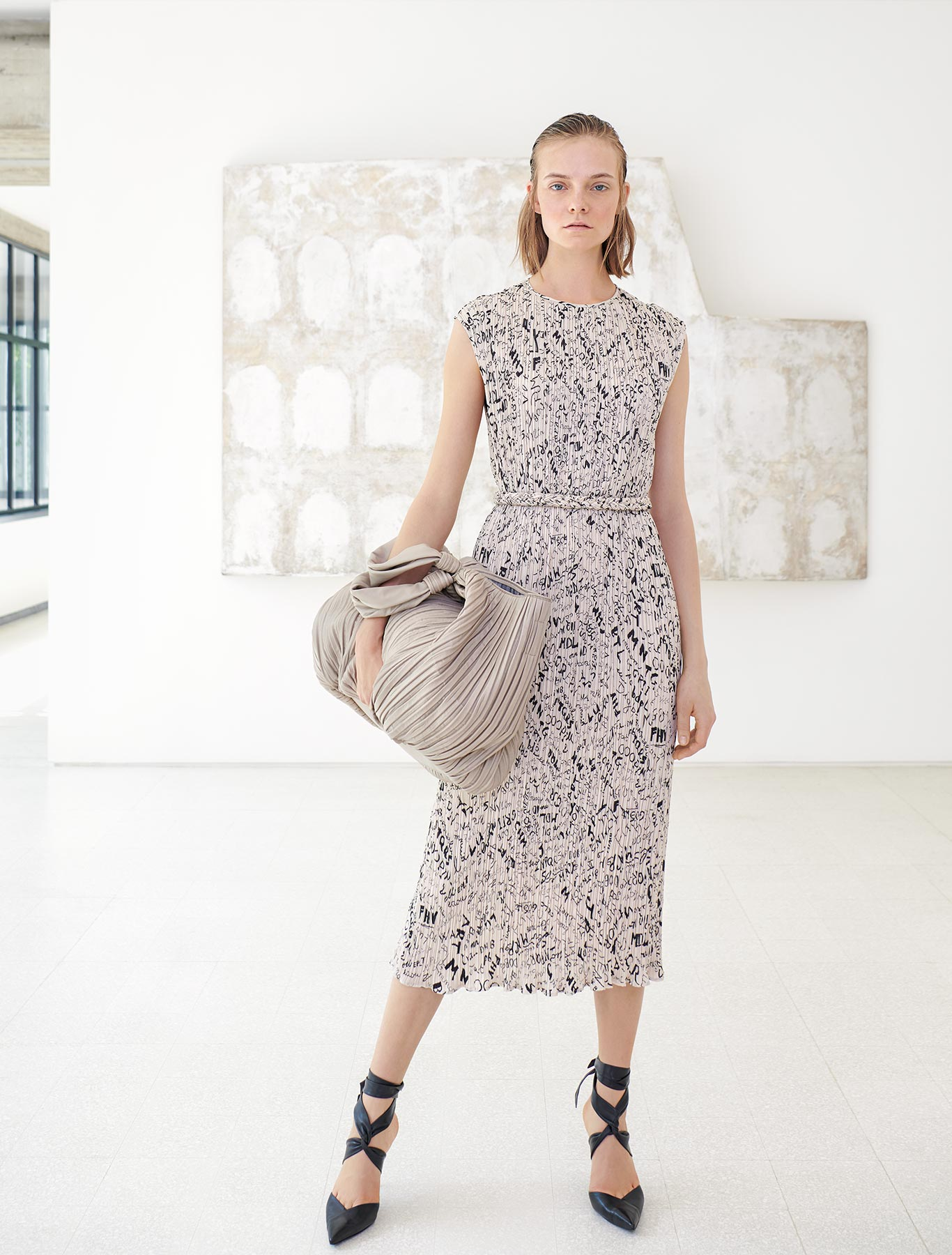 Printed technical canvas dress
