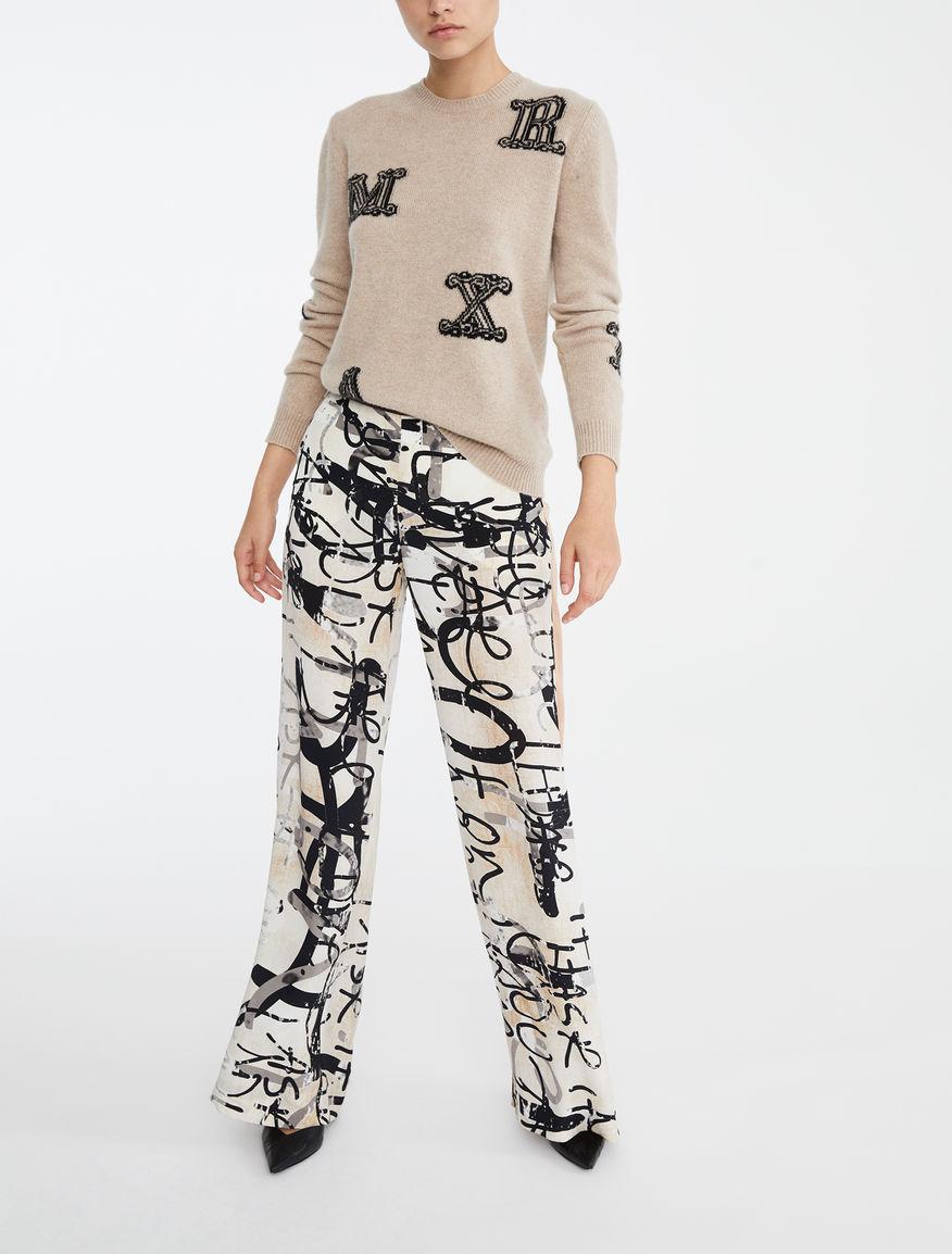 Pantalon en soie imprimée