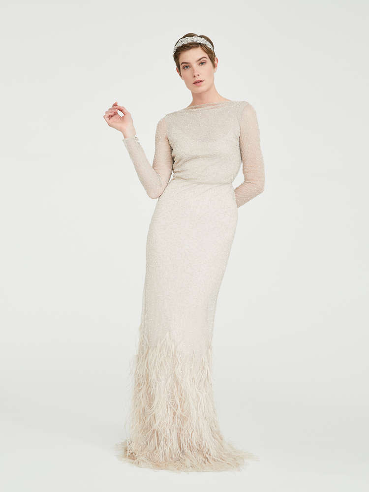 Tulle, sequin and feather dress