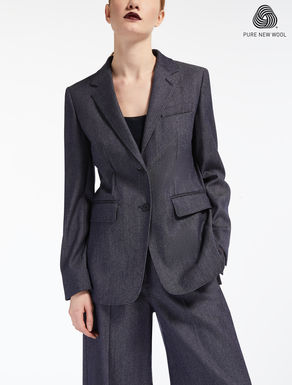 Denim-effect wool blazer