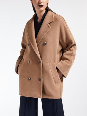 Camel hair coat with beaver fur