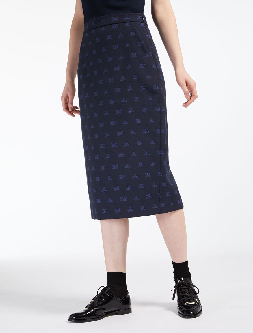 Stretch jacquard skirt