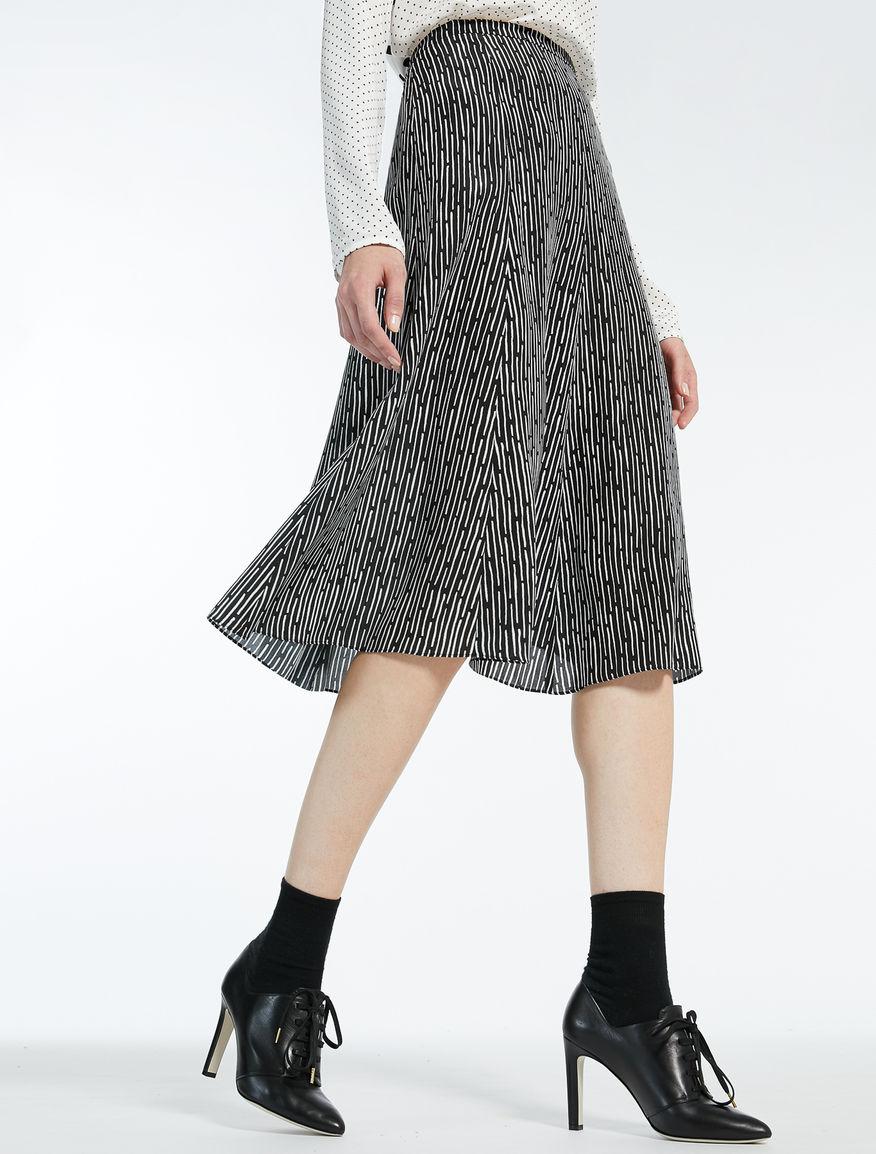 シルク クレープデシンプリント スカート