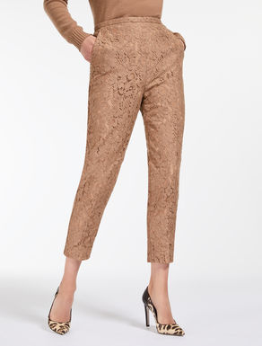 Embroidered lace trousers