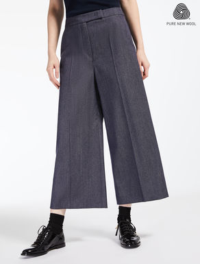 Denim-effect wool trousers