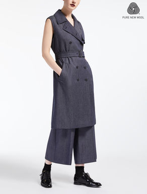 Denim-effect wool gilet