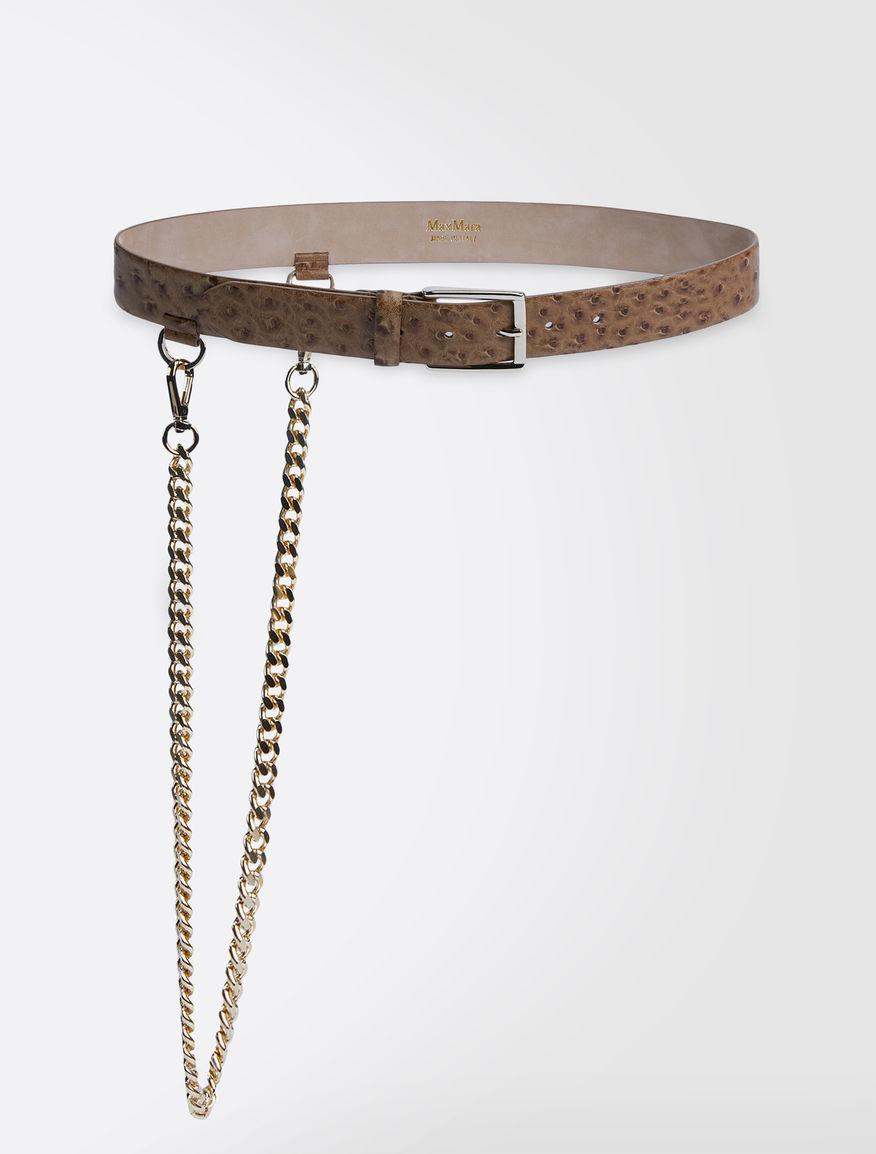 Ostrich print leather belt