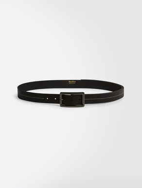 Deer-print leather belt