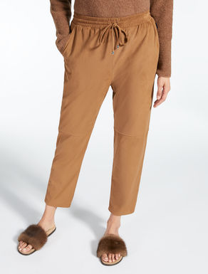 Suede-effect trousers