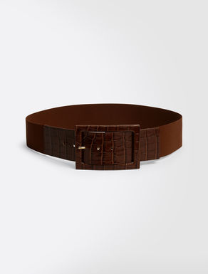 Leather and stretch fabric belt