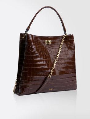 Hobo Bag in crocodile-print leather