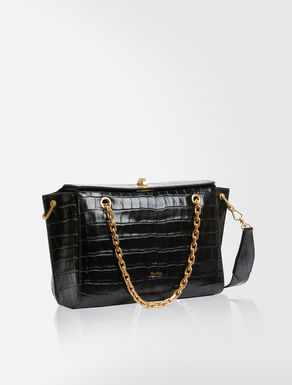 Crocodile-print leather messenger bag