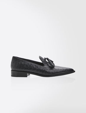 Ostrich-print leather loafers