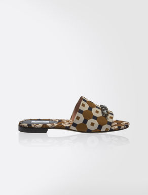Printed fabric sandals