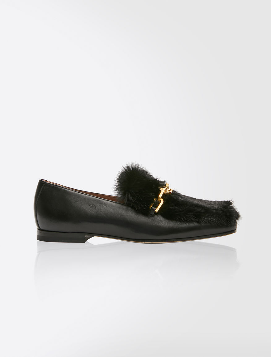 Nappa leather and mink loafers
