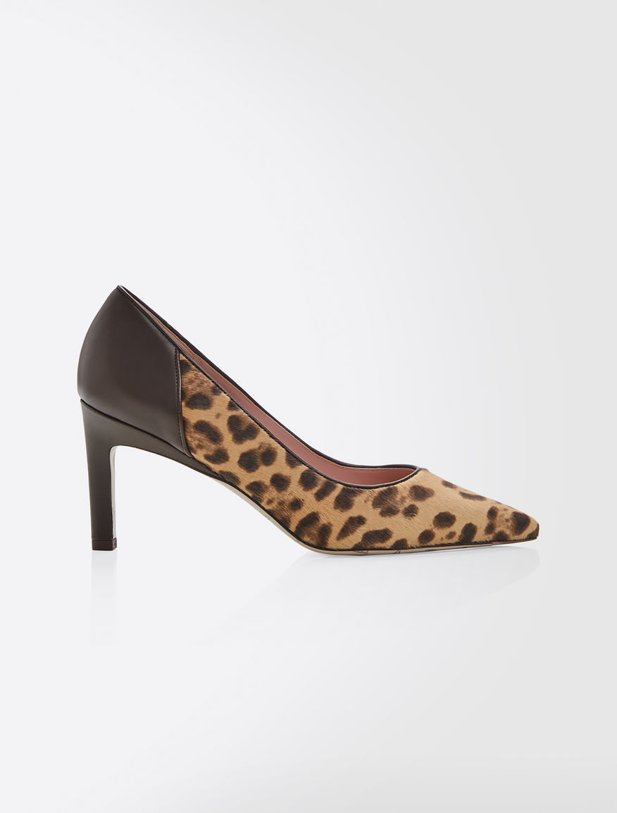 Pony-skin and leather pumps