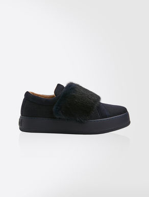 Cashmere and mink sneakers