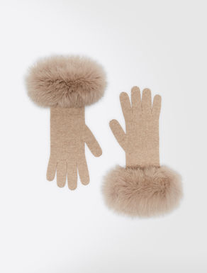 Cashmere and fox-fur gloves
