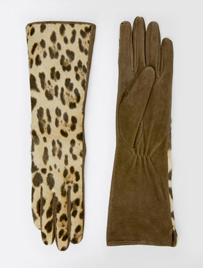 Pony-skin and leather gloves