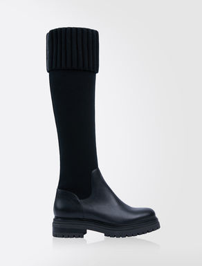 Leather and stretch knit cuissard boots