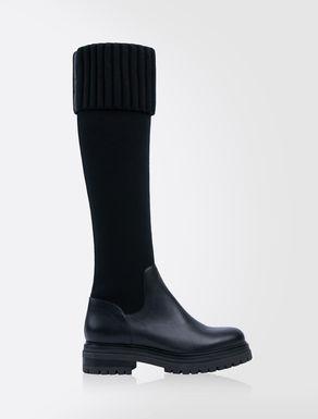 Overknee-Stiefel aus Leder und elastischem Strick