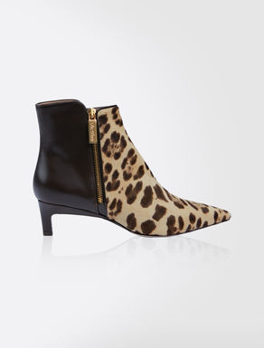 Pony-skin and leather ankle boots