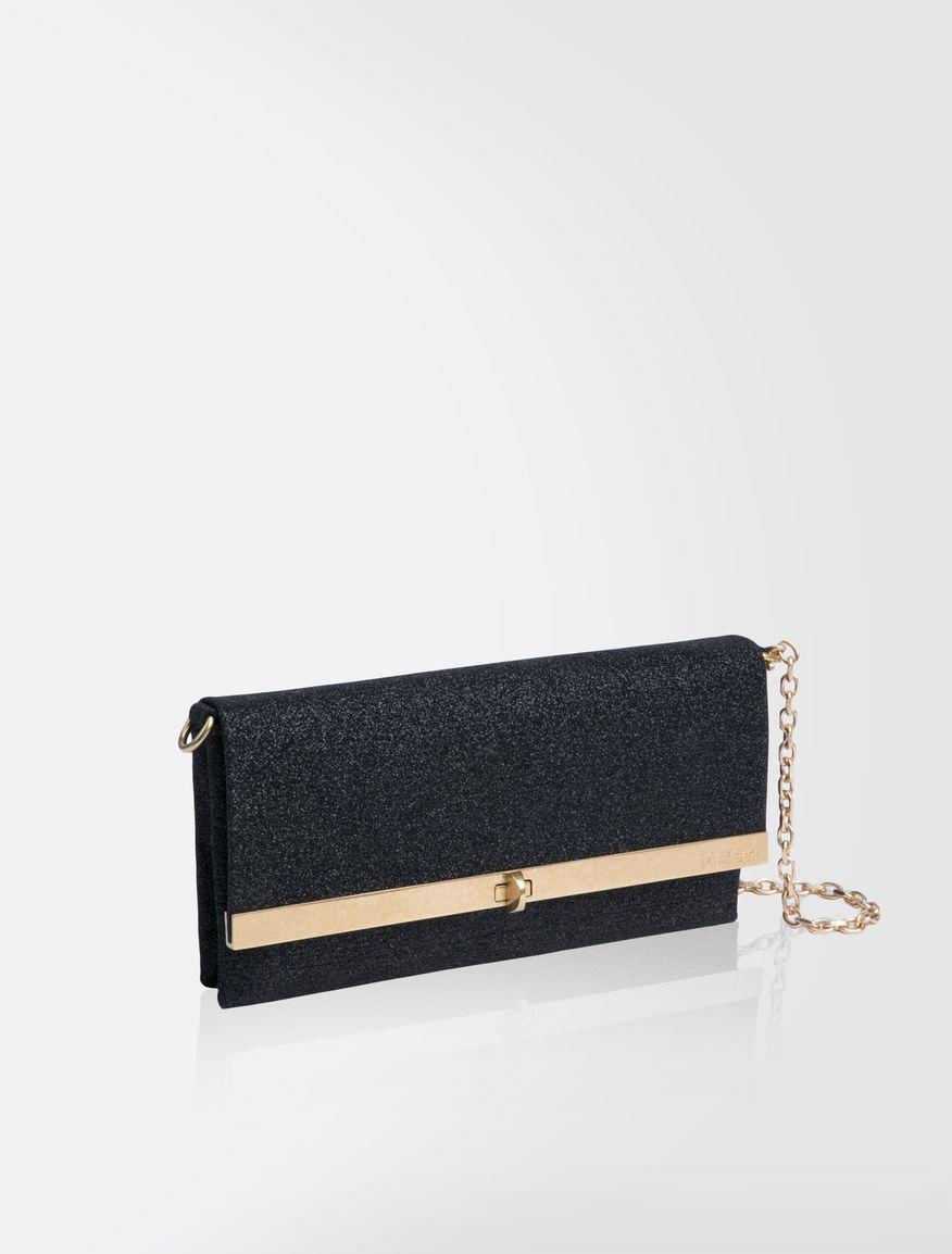 Glittery leather clutch