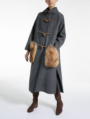 Wool and fur duffel coat