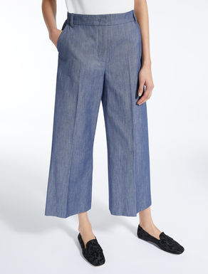 Denim-effect cotton trousers
