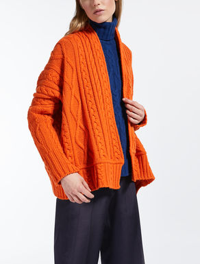 Wool yarn cardigan