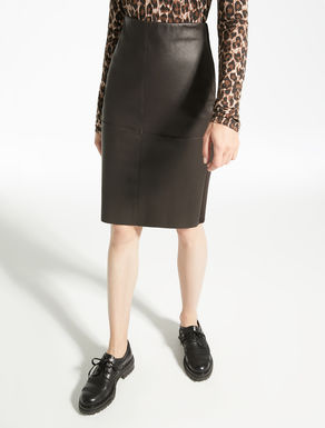 Stretch nappa leather skirt