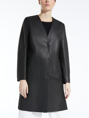Nappa leather duster coat
