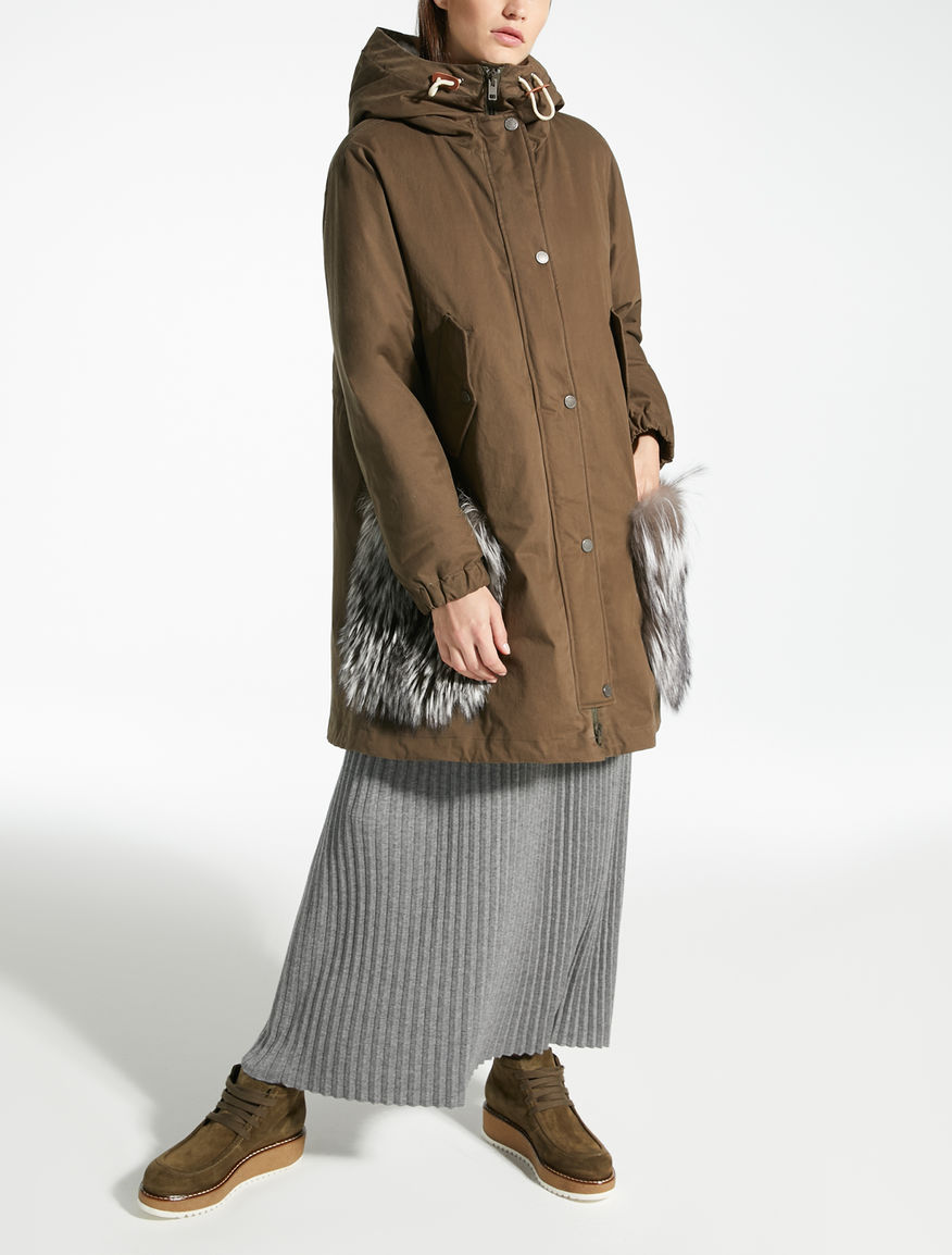 Cotton twill and fur coat