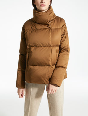 Water-repellent satin down jacket