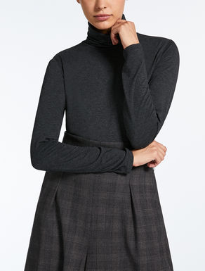 Viscose jersey polo neck jumper