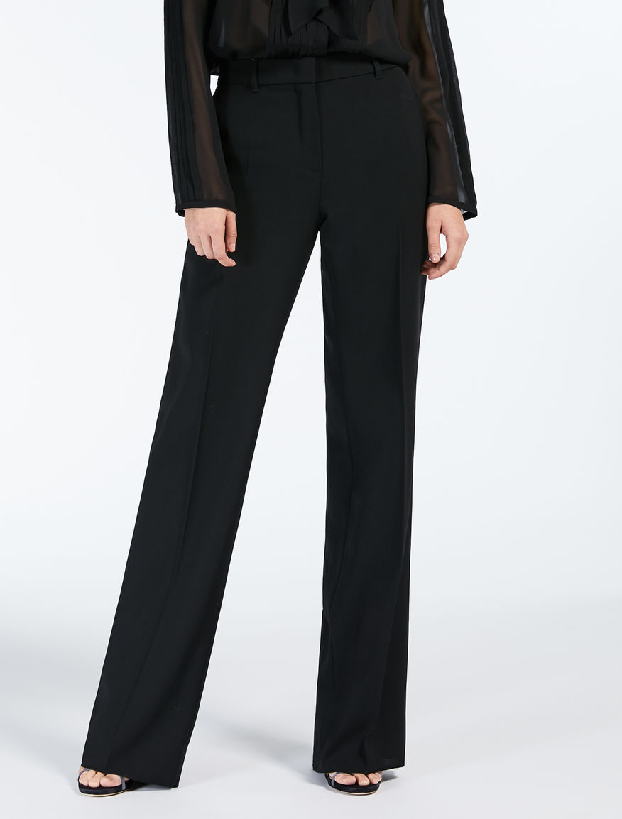 Wool crepe satin trousers