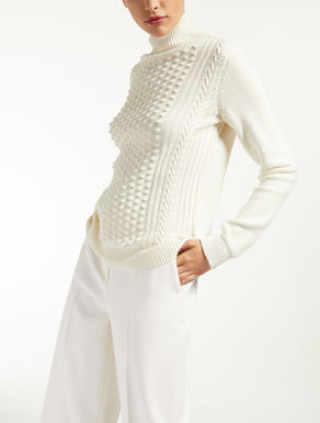 Wool and cashmere yarn polo neck jumper