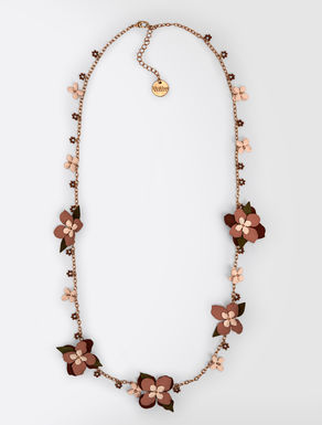 Metal necklace with flowers