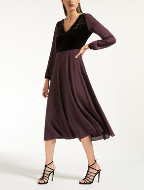 Silk charmeuse and velvet dress