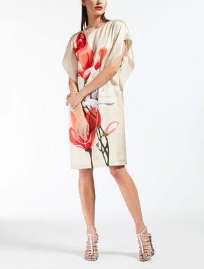 Printed silk satin dress