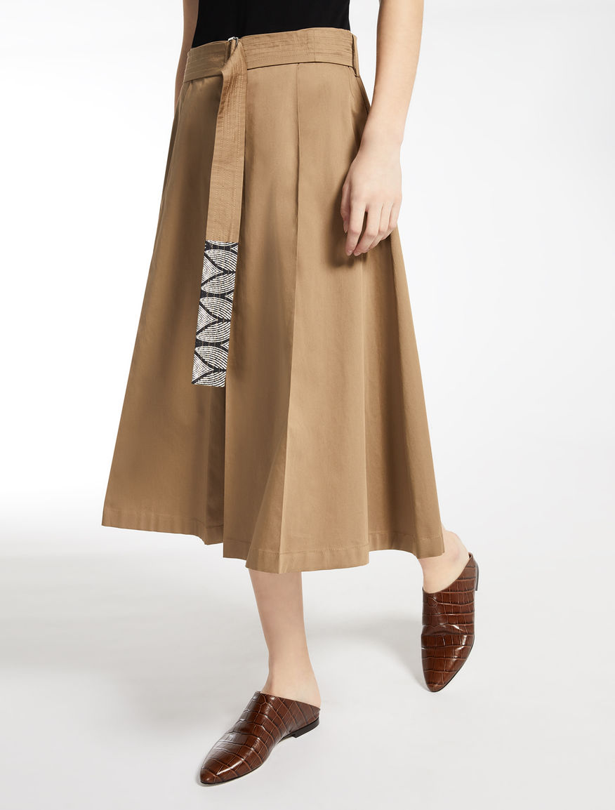 Cotton satin skirt