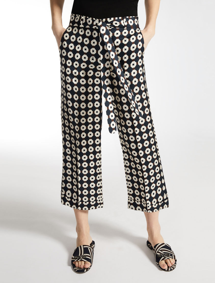 Silk twill trousers