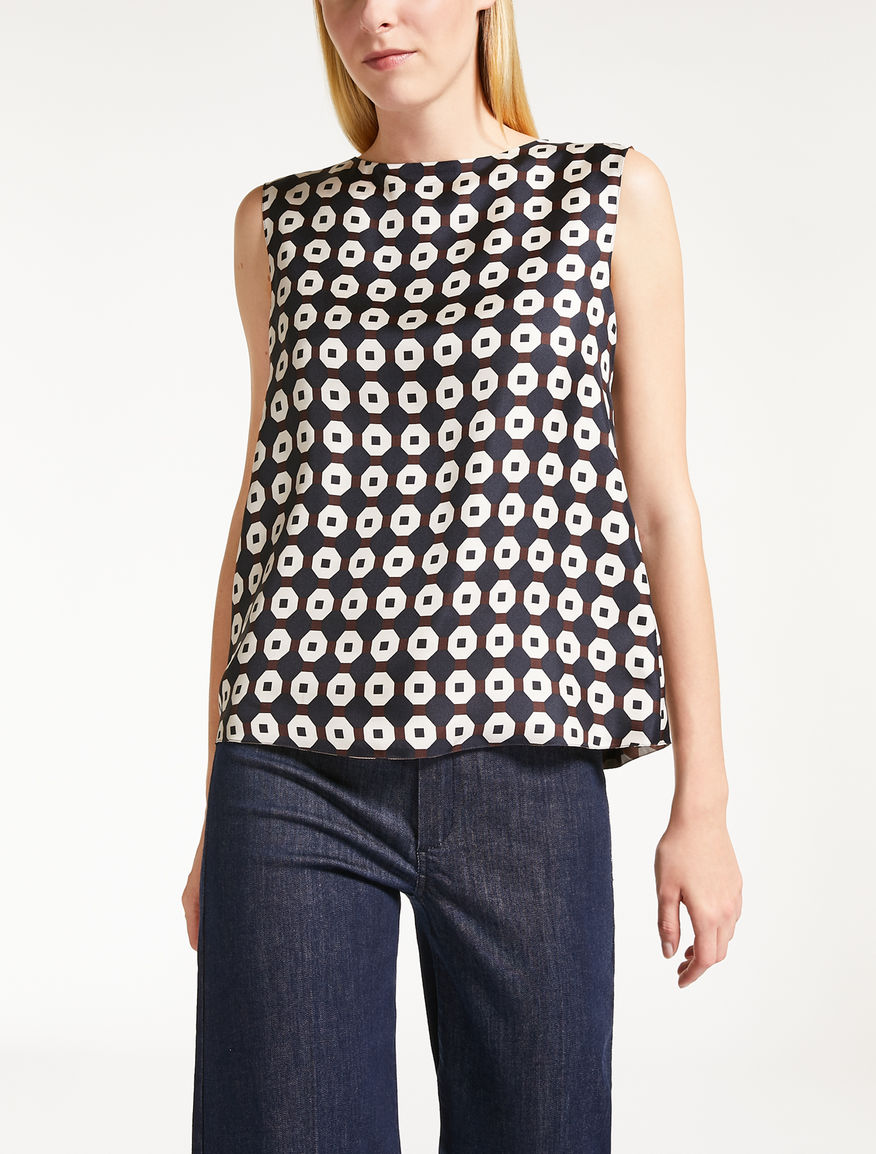 Silk twill reversible top
