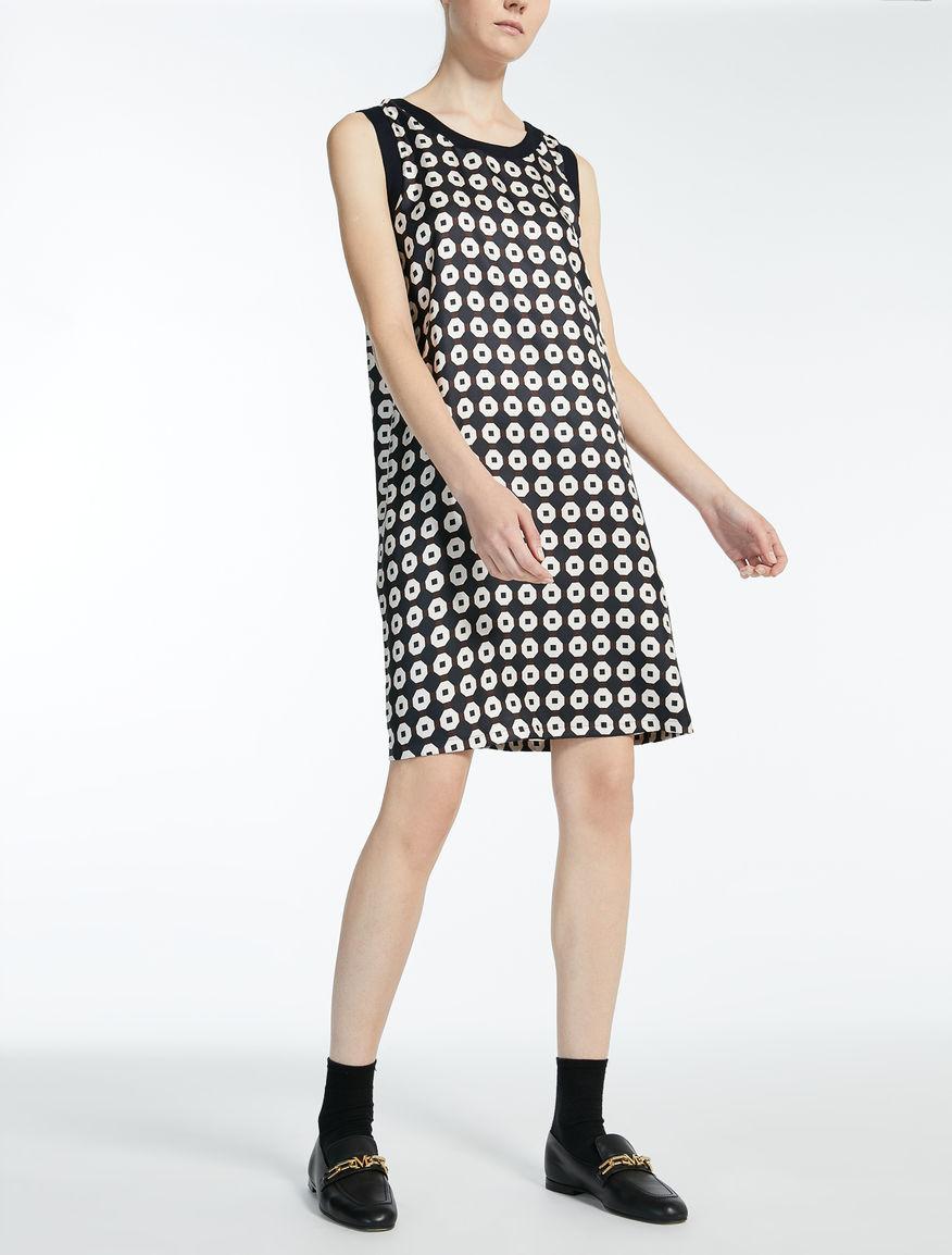 ピュア シルク ツイルプリント ドレス