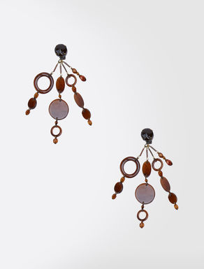 Metal and glass pendant earrings