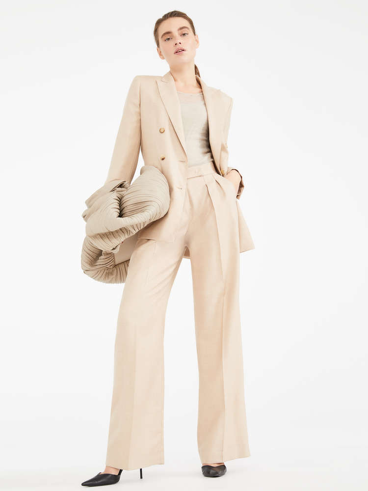 Camel and silk trousers