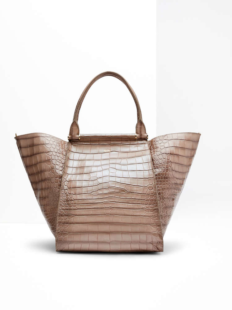 Maxi shopper in crocodile-print leather