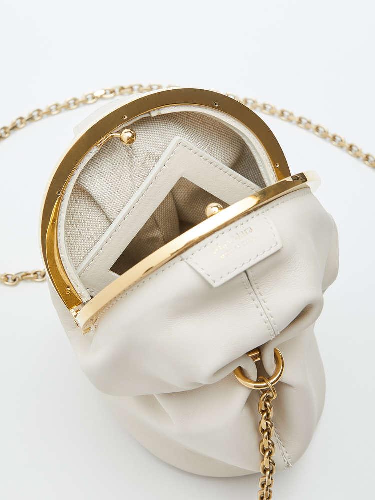 df11a3e782 Leather clutch bag, ivory -