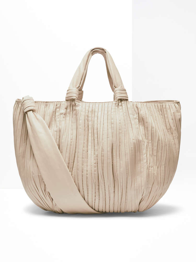 Shopper grande in nappa plissé
