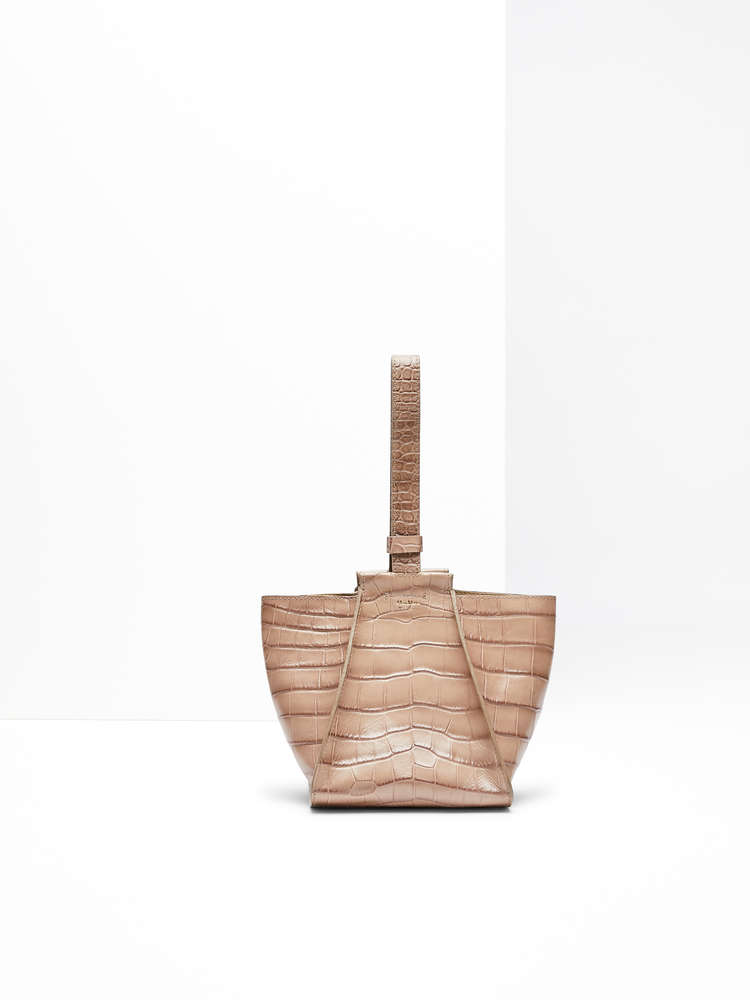 Crocodile-print leather shopper